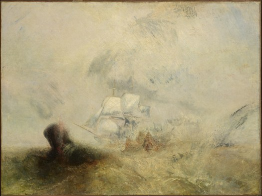 A painting of whalers by Turner, the tumultuous sea roils beneath boat whose white sails disappear into the background. No people are evident, but a large black spot in the foreground is probably meant to be the whale.