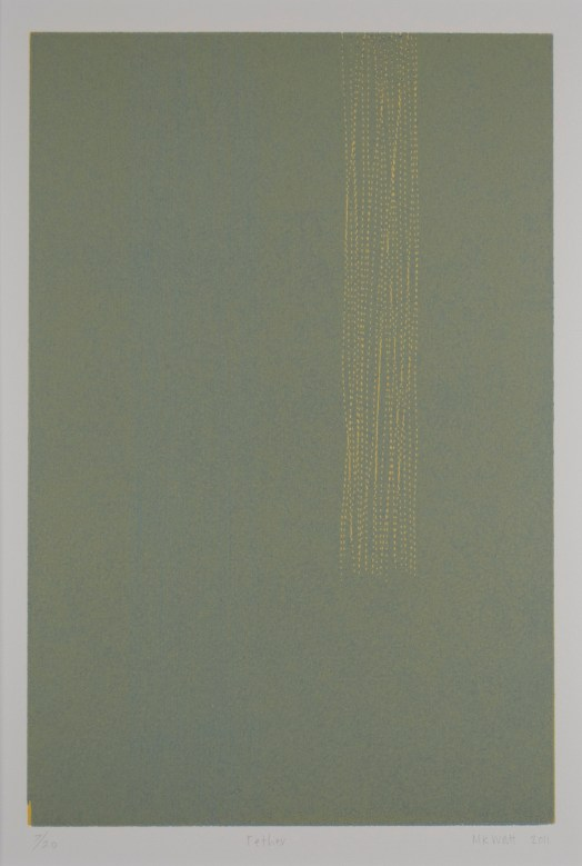 Watt's woodblock features a forest green background with multiple rolled, yellow lines on the right. The lines appeared stitched, and stop three-quarters of the way down the print.