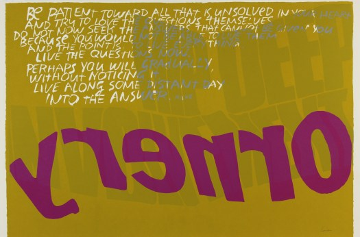 "A yellow background makes the large, purple word ""ornery"" stand out. Written backwards, ""ornery"" takes up the bottom half of the composition. The top half is made up of white words encouraging the viewer to be patient"