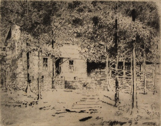 This etching depicts a cabin in the woods, surrounded by trees. A low brick wall wraps around the cabin, with stone steps beginning in the foreground drawing the viewer's eye to the house.