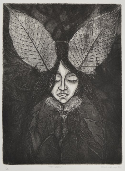 A portrait of a girl with her eyes closed, face turned downward. Her hair is a dark black, and she wears a scarf knotted at her throat. Instead of a coat, we can see the lines of her organs. Resting in her hair, like ears, are two large leaves.