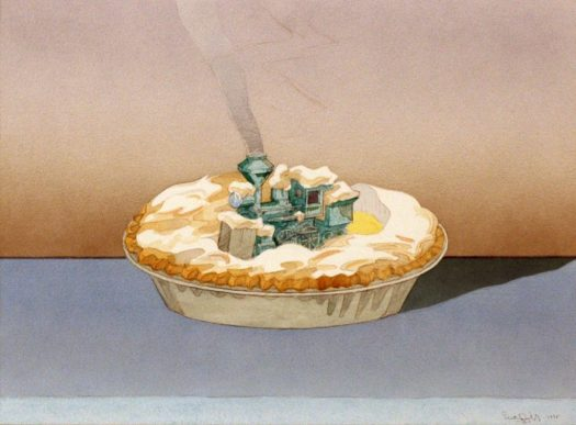 A train runs through the fluffy topping of a meringue pie that sits atop a windowsill. The steam from the train mimics the heat wave from a  pie fresh out of the oven.