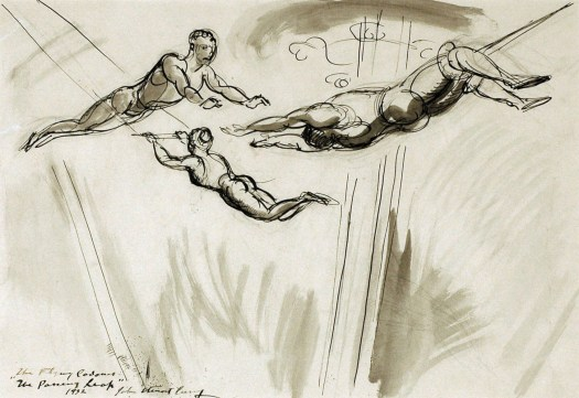 A gestural sketch of acrobats in the air. The background is blank, and the acrobats are loosely sketched to show the movement of their muscles. One is flying through the air, arms outstretched to grasp the hands of another who hangs upside down by the knees. Behind them, a woman glides through the air with her hands clasped to the bar, legs behind her.