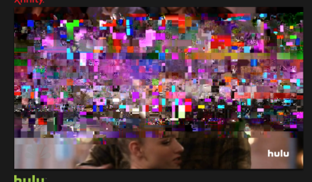 An image of a television with a three-quarters pixelated screen.