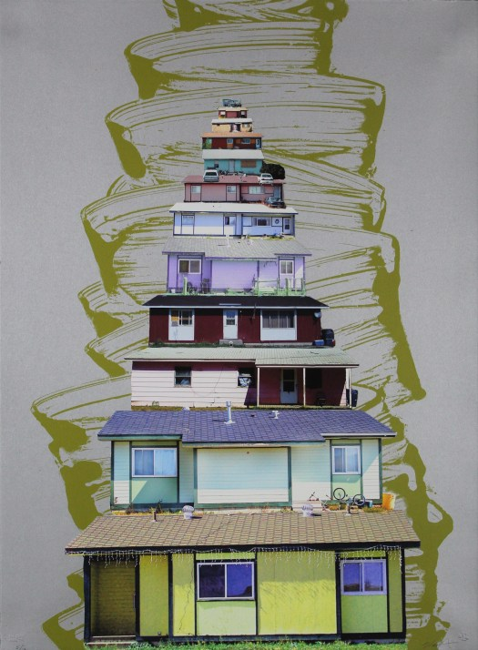 In this print, houses are stacked one on top of the other. Each have an individual color and show the personality of the family through the objects outside of them: bikes, cars, string lights.