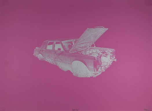 Against a bright pink background is a silvered car, lacking wheels and with it's hood lifted showing the inside.