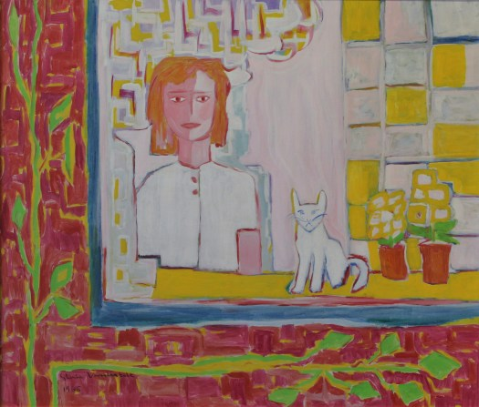 A woman in a white dress with reddish-orange, cropped hair, sits in a chair at the window. On her left is a white cat and two yellow flowers in pots. A window, taking up three-quarters of the composition, frames her while the left side shows vines crawling up reddish-pink bricks.