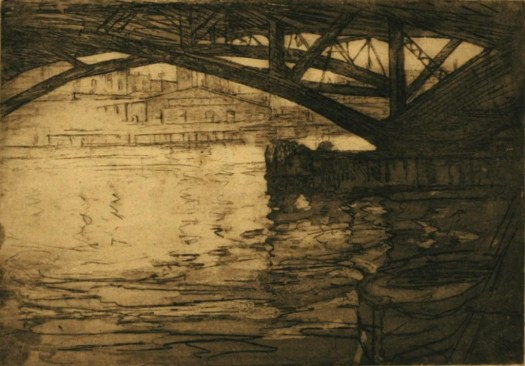 An etching of the Chicago bridge shows the underneath of it, peeking through is the city. Much attention is given to the movement of the water, and a boat is in the righthand corner.