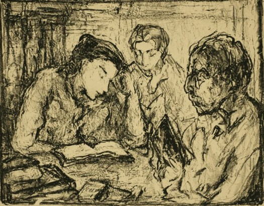 A woman leans her head on her hand as she reads a book spread before her on a table. Next to her are two others, also reading. The table includes a stack of books in the left corner. The people are sketchily drawn.