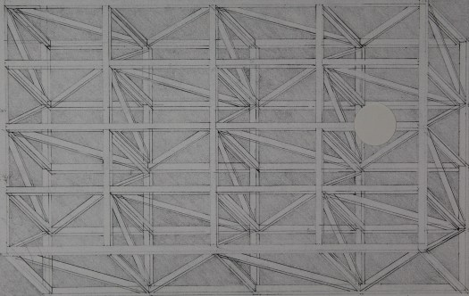 A Risograph print that looks like a drawing of what a stage looks like underneath, or the scaffolding.