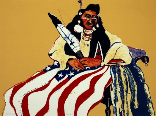 A Native American, in traditional dress, sits upon a European, high-backed chair with the American flag draped across his lap. He holds a feather in one hand. The background is a yellow-ochre, contrasting with the blues and reds of the flag.