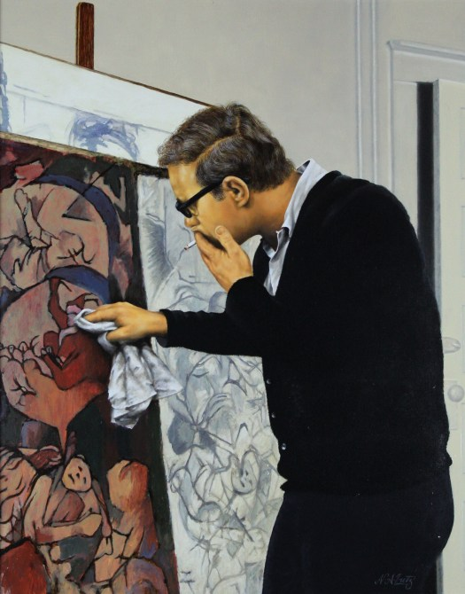 Artist Noel Dusendschon in his studio. He smokes a cigarette and wipes at his artwork which stands on an easel. His eyes are on the art, his back curved and away from the viewer.