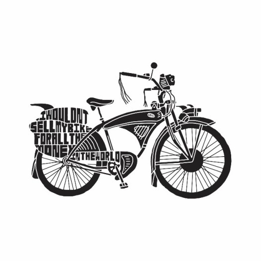A black and white print of a bicycle with a Pee Wee Herman quote on the back wheel.