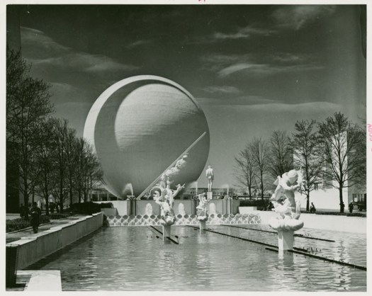 A photograph of Paul Manship's sculptures in their pond at the 1939 World's Fair.