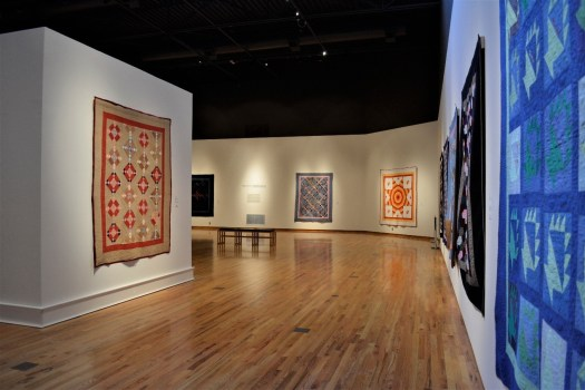 "An exhibition shot from ""American Quilts of the Collection"" at FWMoA in 2015."