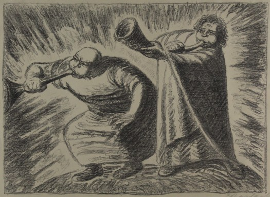 A black-and-white lithograph of two men in robes blowing horns.