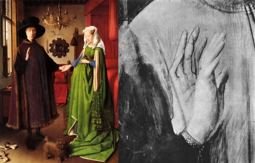 The Arnolfini Portrait is believed to be a wedding painting, as it shows a couple holding hands in their bedroom, a dog at their feet. Upon close inspection, the mirror behind them reflects another person in the room, possibly the preacher.