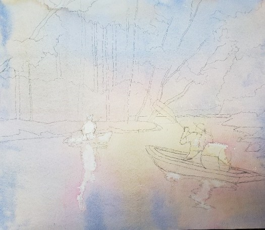 The first layer of color--the work is two kayakers on a river surrounded by trees.