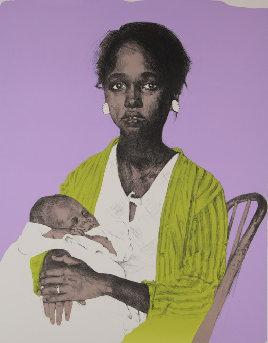 A black woman holds a child against a lavendar background. The woman appears haggard and wears a bright green robe over a white dress. Her hands are crossed, sporting a wedding ring, over the baby who sleeps bundled in a white blanket.
