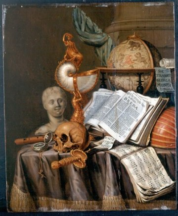 A crowded table, covered by silk fabric, takes up the majority of the composition. On top  of the table is a skull, compass, sheets of music, an open book, a globe, and a sword. In the back right corner is a column.