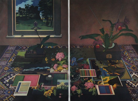 A still life with plants, postcards, a box, and a print overlaid on a patterned tablecloth atop a wood table. In the left corner is a window with a fly on the sill.