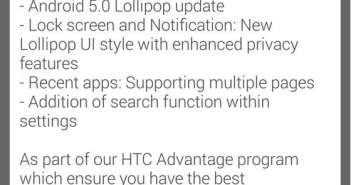 HTC One M8 Lollipop update