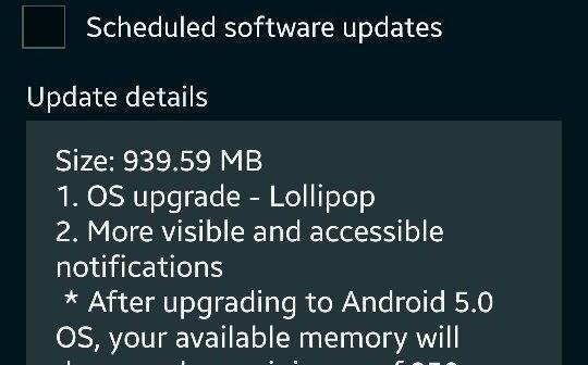 Galaxy S5 Lollipop upgrade