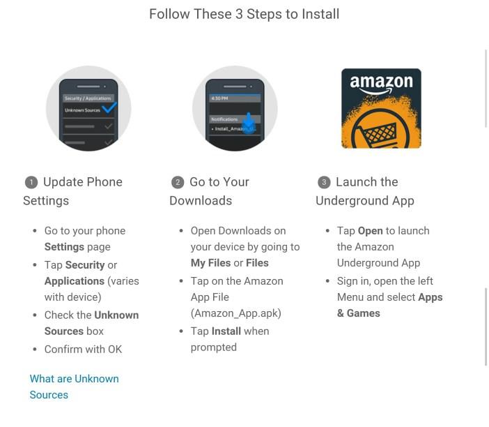 Amazon Underground how to install