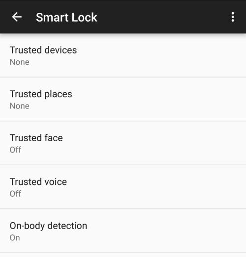 Android Smart Lock menu