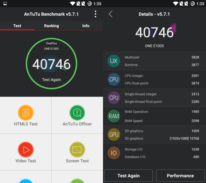 OnePlus X AnTuTu Benchmark score