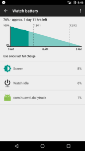 Android Wear watch battery