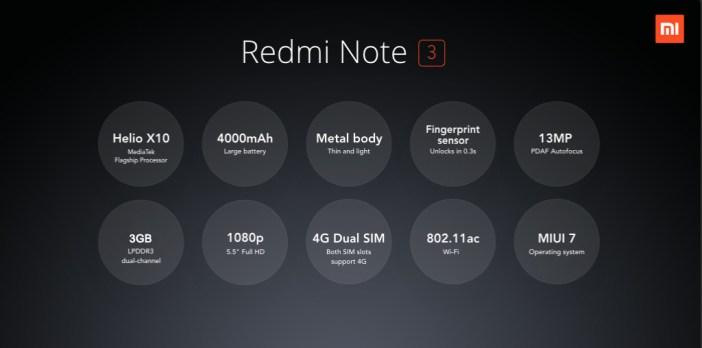 Redmi Note 3 specs