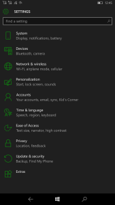 Lumia 950 XL theme settings
