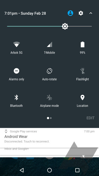 Android N quick settings