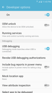 Galaxy S7 USB Debugging enabled