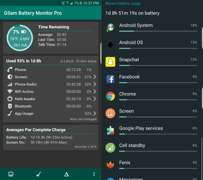 Samsung Galaxy S7 edge great battery life