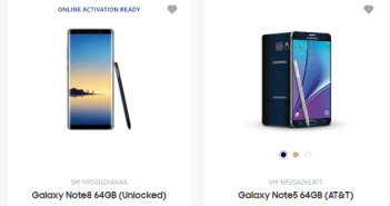 Note 8 live on Samsung website