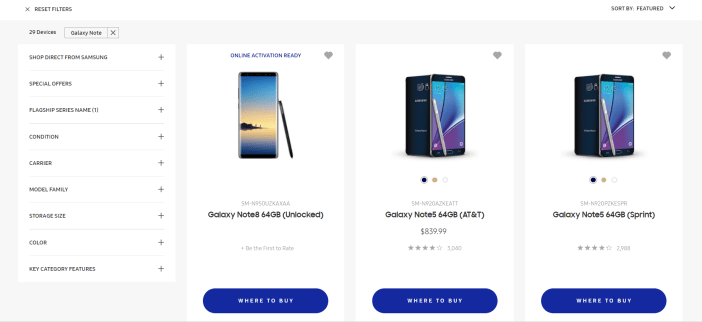 Galaxy Note 8 page screenshot