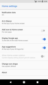 Pixel 2 Launcher options