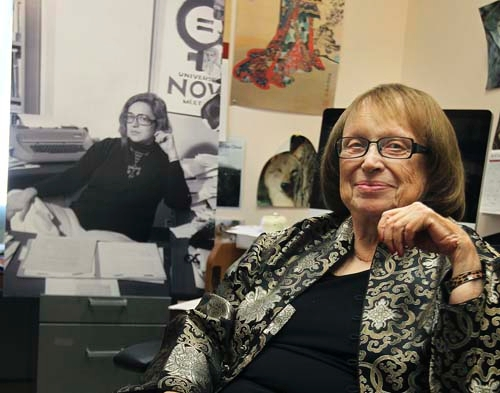 Felicia Campbell seated in her office