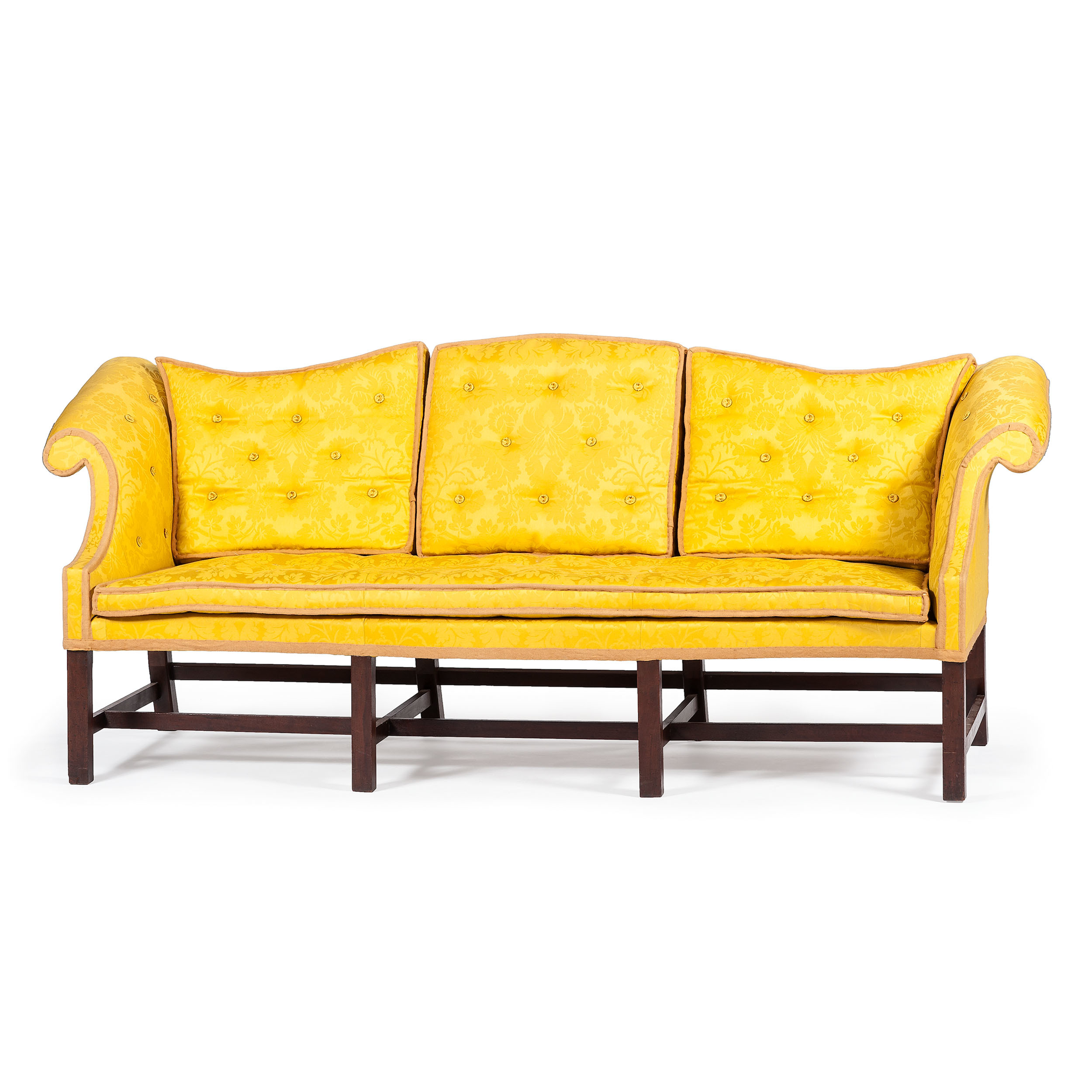 rare chippendale camelback sofa with