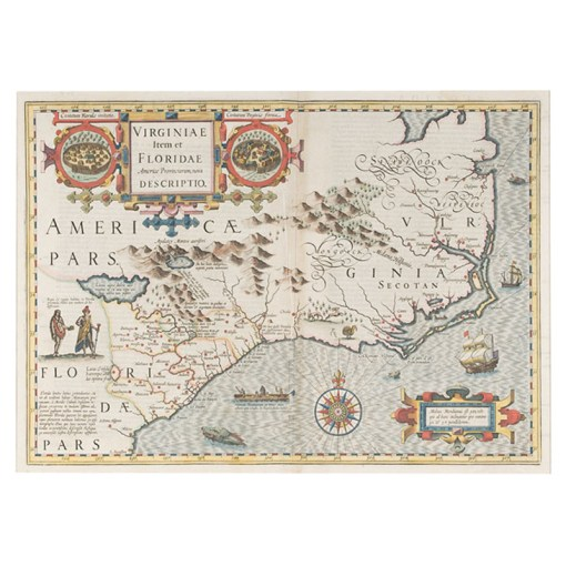 Hondius  Map of Virginia and Florida   Cowan s Auction House  The     Hondius  Map of Virginia and Florida