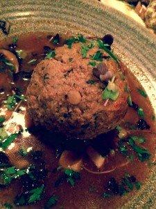 Beef Kufteh, spicy chicken stuffing