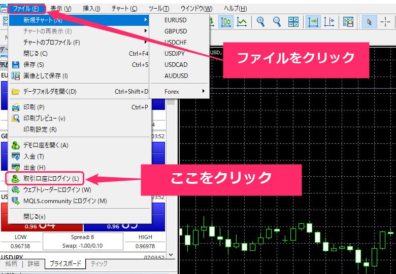 XM MT4 ログイン手順①