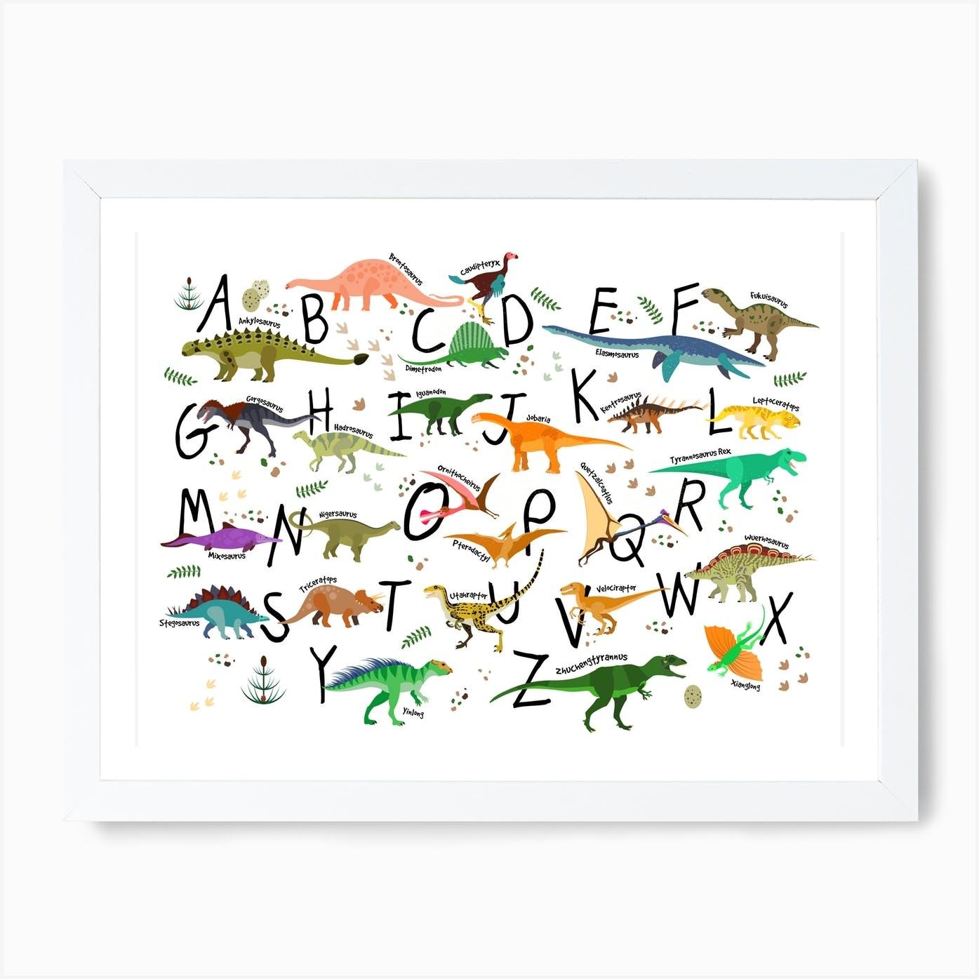 dinosaur alphabet art print