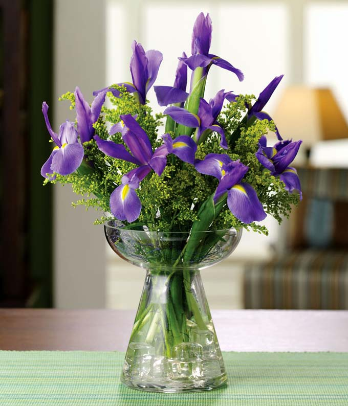 Eternal Iris at From You Flowers Purple irises and yellow solidago in bud vase