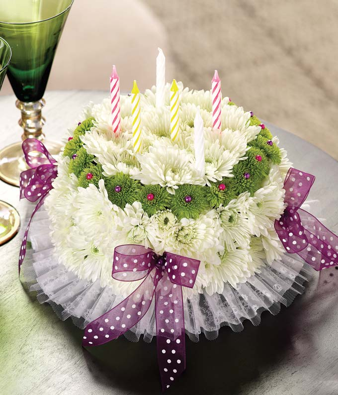 Birthday Flowers   Birthday Delivery   FromYouFlowers Happy Birthday flower cake with white carnations  green poms and bows