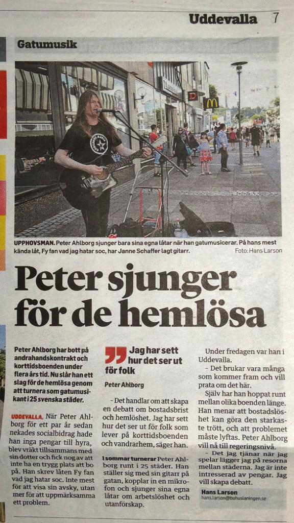 Bohuslänningens reportage om Peter Ahlborg lördagen den 26 juli 2014
