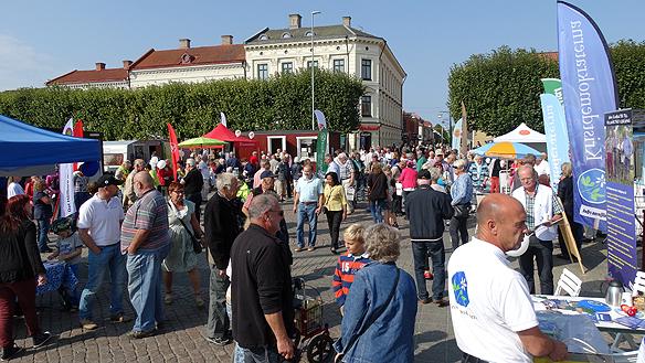 Full fart på torget i Lidköping. Alla riksdagspartier valspurtar denna härliga sensommar lördag. Foto: Peter Ahlborg