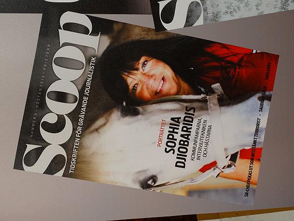 Sofhia Djiobaridis pryder omslaget till granskande tidningen Scoop. Foto: Peter Ahlborg
